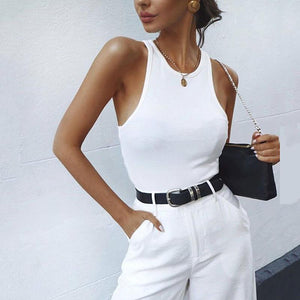 Commuting Round Neck Off-Shoulder Pure Colour Tight Vest