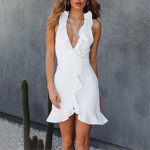 Sexy V-Neck Ruffled Slim Solid Color Vest Dress