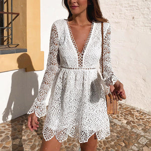 Sexy Deep V Long Sleeve Hollow Dress