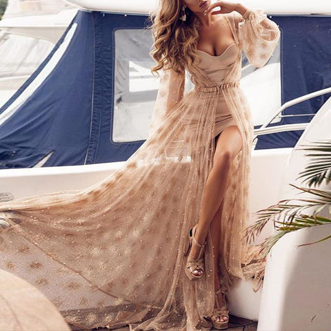 Sexy V-Neck Waistband With Pearl Maxi Dress