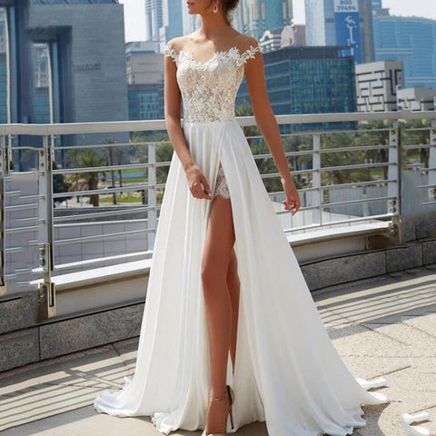 Lace Split Solid Color Sleeveless Evening Dress