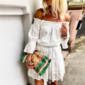Off Shoulder Hollow Lace Up Splicing Dress