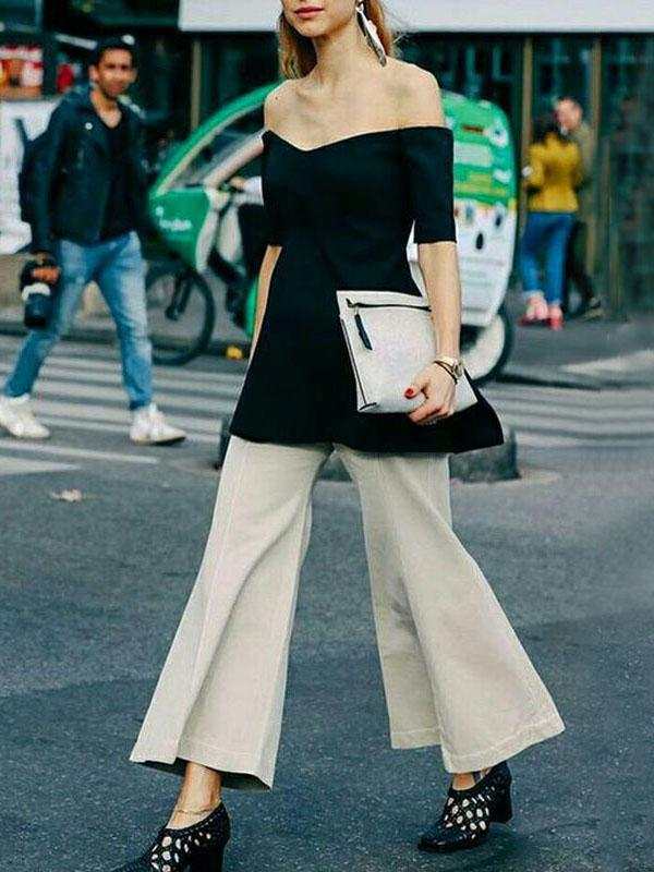 Fashion Pure Color Open Shoulder Top