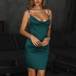 Women's Sexy Pure Color Sleeveless Bare Back Tight Sling Dress