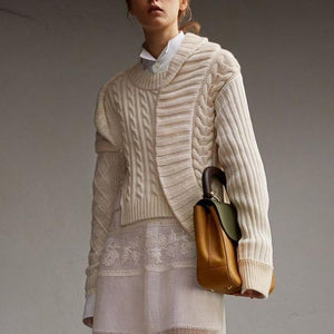 Casual Knit Round Neck Long Sleeve Pure Colour Splicing Sweater
