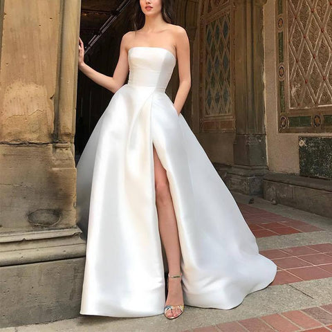 Sweet Strapless Pure Colour High-Waisted Slit Dress