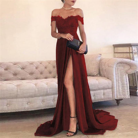 One-Shoulder Lace Split  Mopping Dress