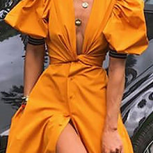 Sexy Deep V Belted Short Sleeve Dress