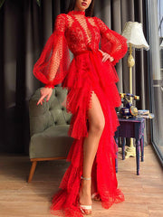 Fashion Pure Color Lantern Sleeve High Fork Evening Dress