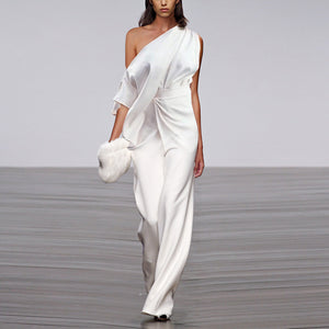 Fashion One Shoulder Pleated Wide Leg Jumpsuit
