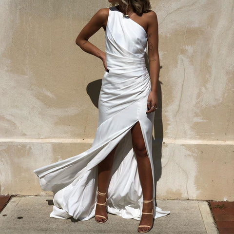 Fashion Single Collar Strapless Slit Solid Color Maxi Dress