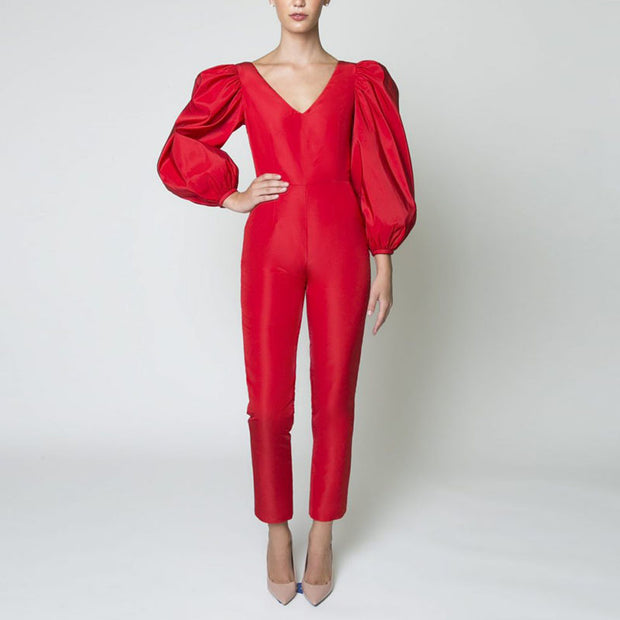 Women's Fashion V-neck Puff Sleeve Solid Color Jumpsuit