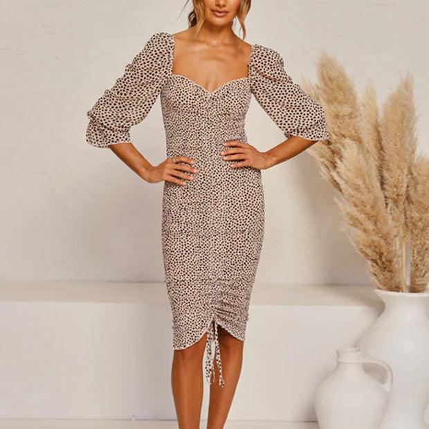 Ladies Sexy Square Collar Puff Sleeve Fishtail Hem Design Dress