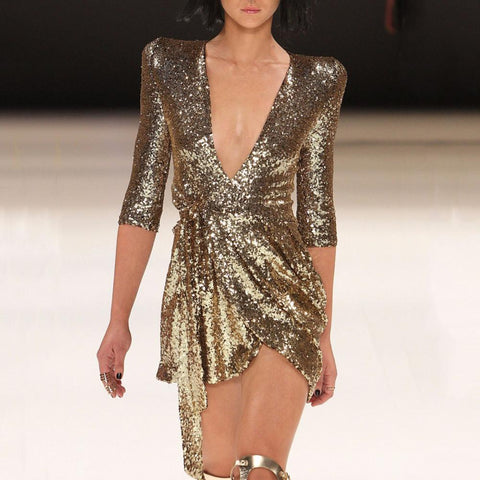 Casual Deep V neck  Sexy Sequined  Mini dress