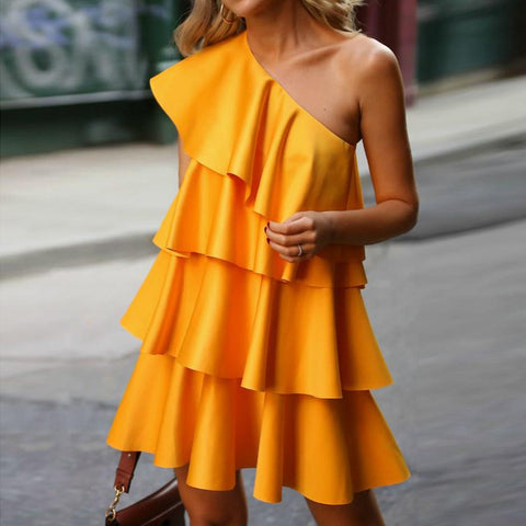 Fashion One Shoulder Ruffle Solid Color Dress