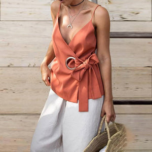 Strap Deep V Neck Loose Solid Color Pop Vest