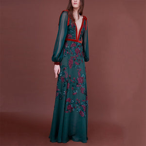 Sexy Deep V Neck Perspective Floral Maxi Dress