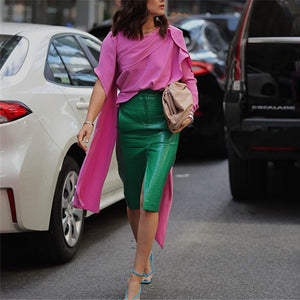 Fashion Irregular Solid Color Top