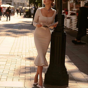 Women's Vintage Square Cut Collar Splicing Ruffled Tight Dress
