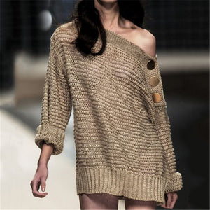 Sexy off-the-shoulder women's knit Sweater