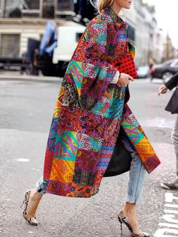Fashion Abstract Style Print Long Down Coat