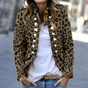 Fashion Leopard Print Double-Breasted Jacket