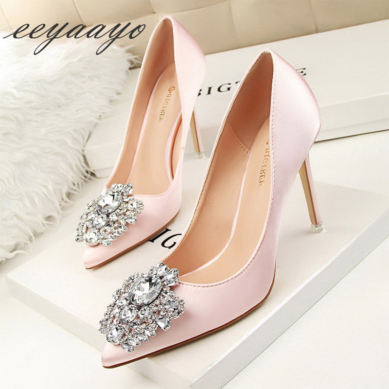 Thin Heel Crystal Pumps