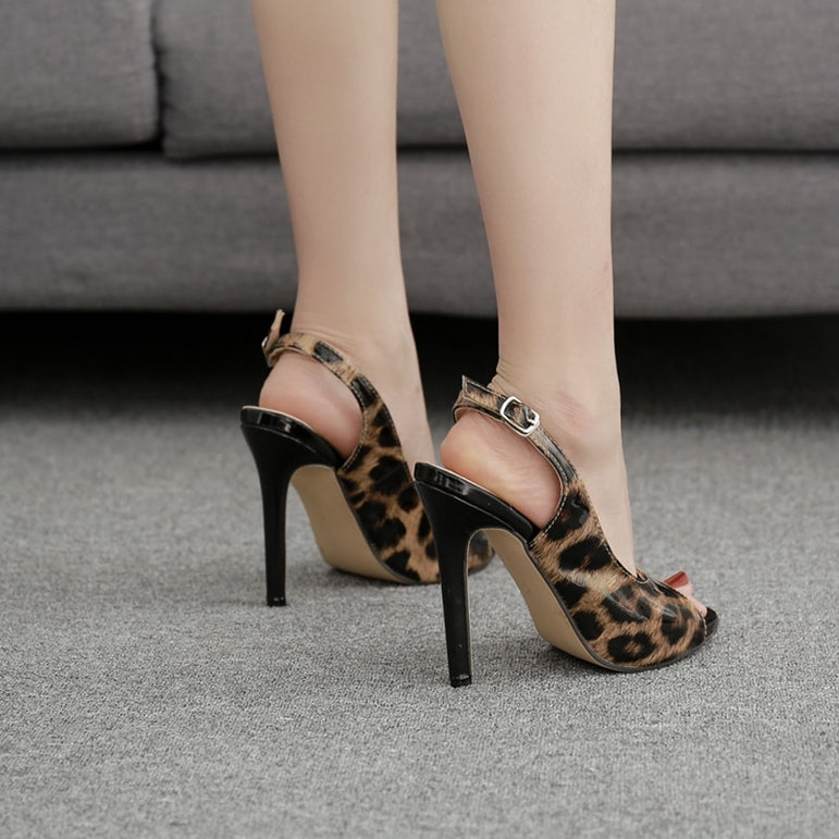 Leather Nightclub Peep toe Platform