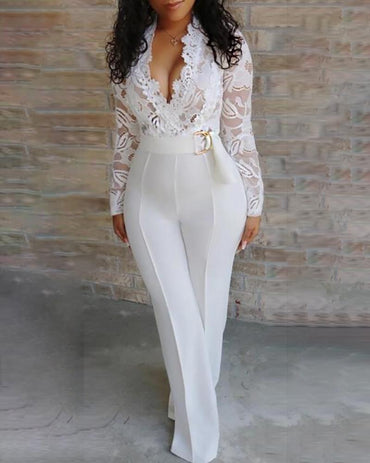 Elegant Long Sleeve Lace Rompers Patchwork Jumpsuit