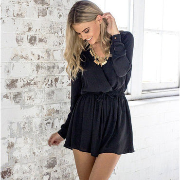Long Sleeve Chiffon Playsuit Bodysuit