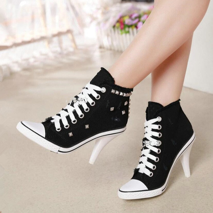 Lace Canvas Denim High Heel Shoes