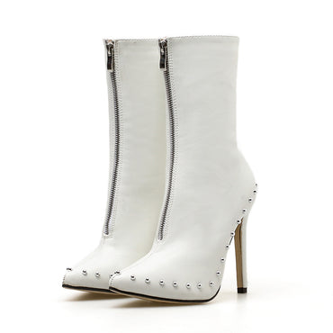 Stiletto Ankle Rivets Boot Heel