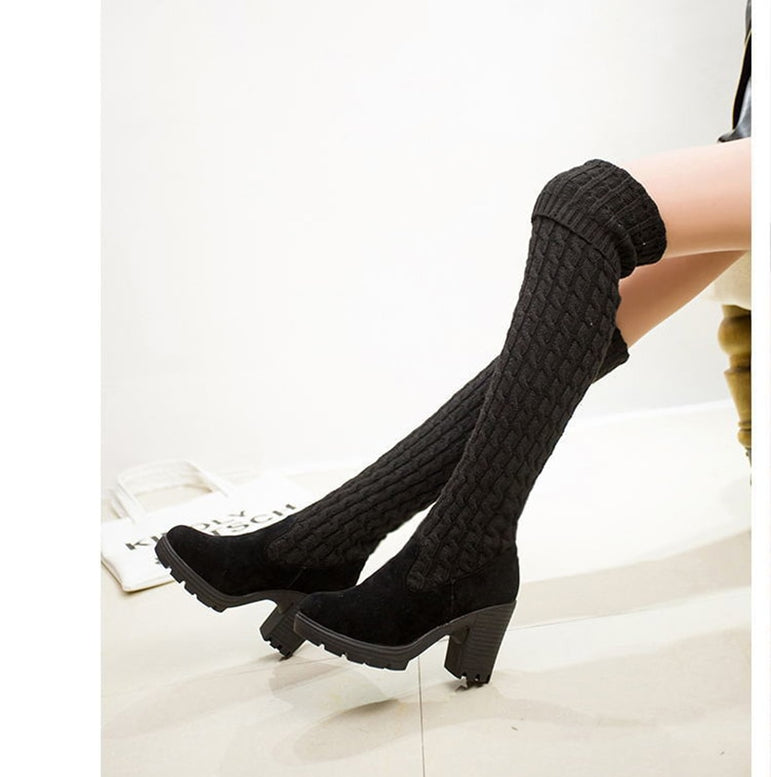 Thigh High Knitting Wool Long Boot