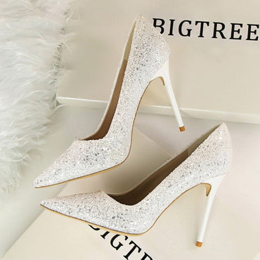 Stiletto Rhinestone Buckle High Heel