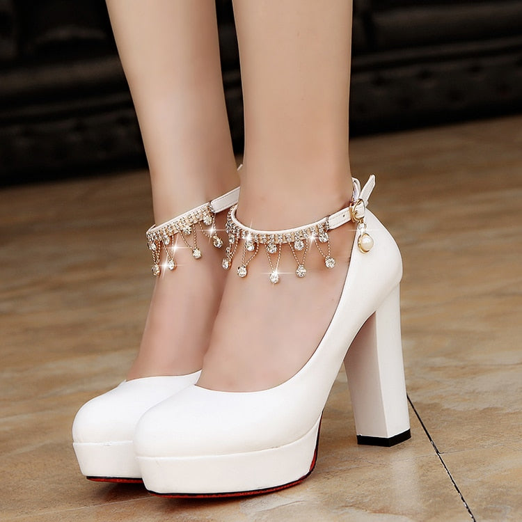 Thick High Heels Ankle Strap Platform