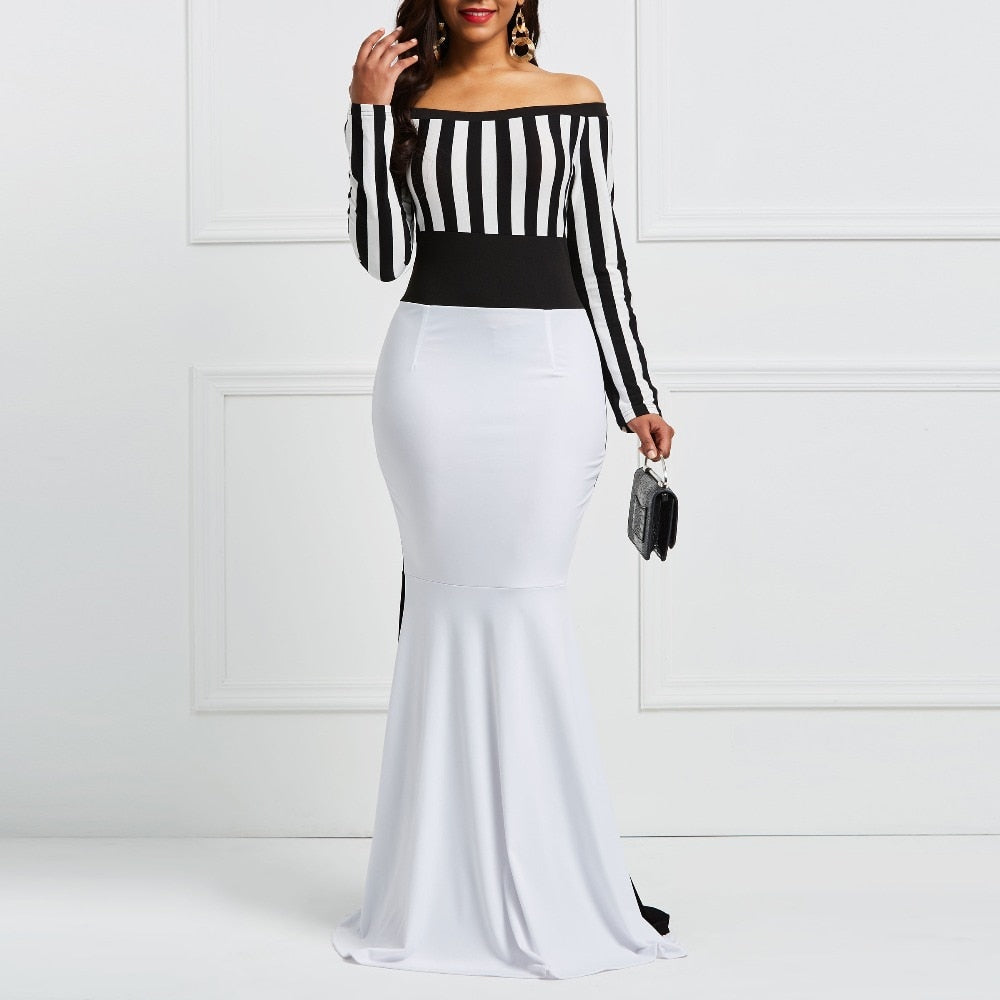 Elegant Women Off Shoulder Long Sleeve Dress