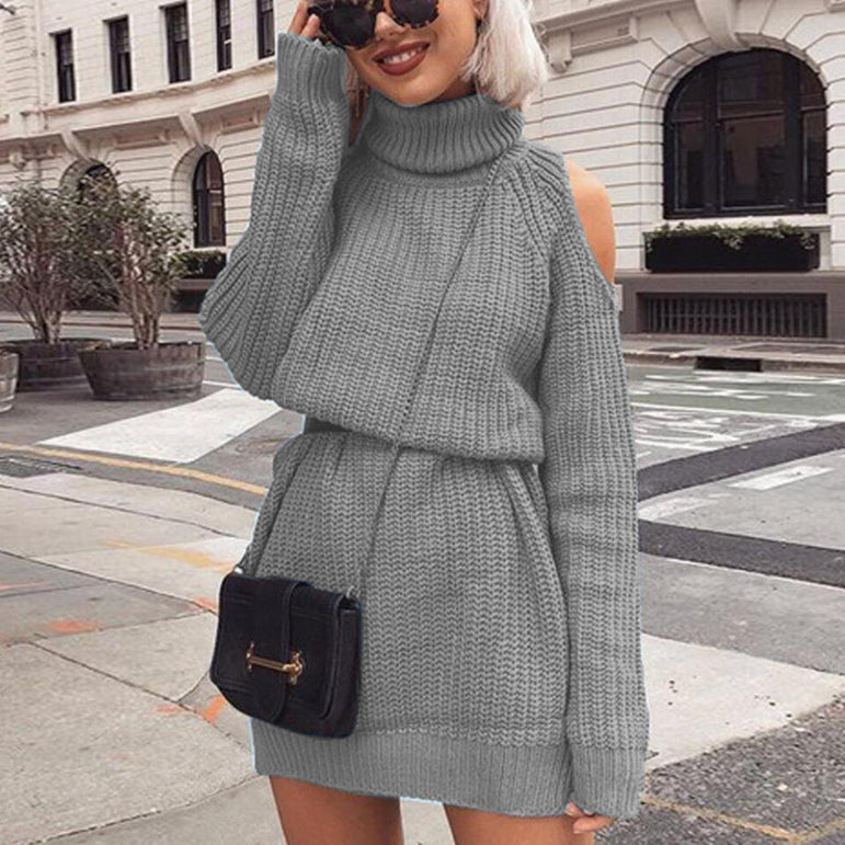 Off Shoulder Sweater Winter Long Pullovers
