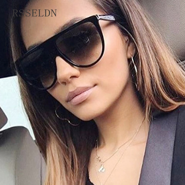Black Clear Oversized Square Sunglasses