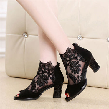 Lace Hollow Peep Women Sandals