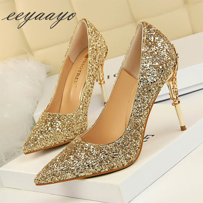 Thin Gold High Heels Wedding Pump