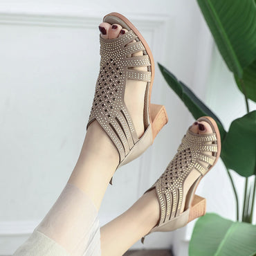Thick Heel Mouth Fish Sandals