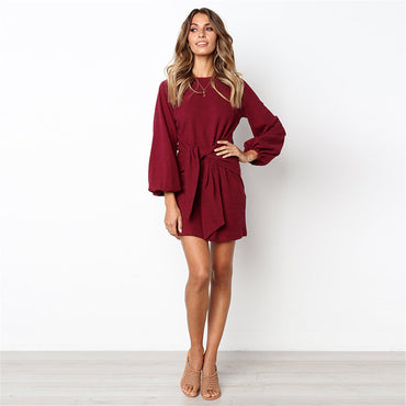 Casual Puff Sleeve Winter Cotton Dress