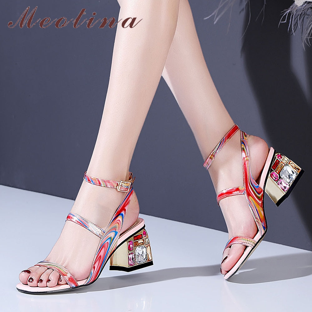 Thick High Heel Cow Leather Sandal