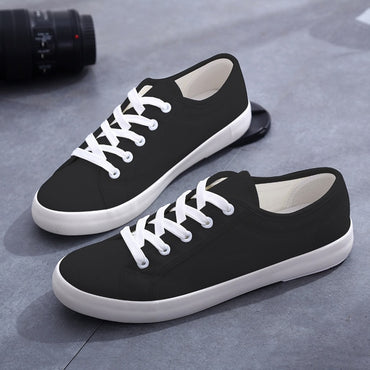 Casual Canvas Lace-Up Flat Sneakers