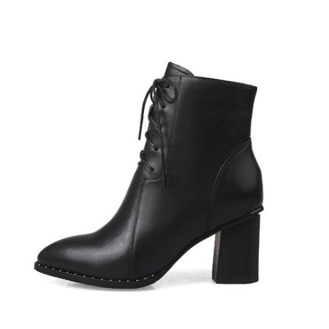 Lace Up Pointed Toe Ankle Boots Square High Heel