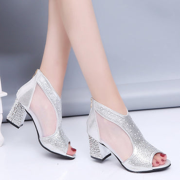 Elegant Crystal Peep Toe Sandals