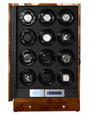 Arcanent 12 + 2 Slot Watch Winder LCD Digital Honey Burlwood Quality Made w/ Ball Bearings