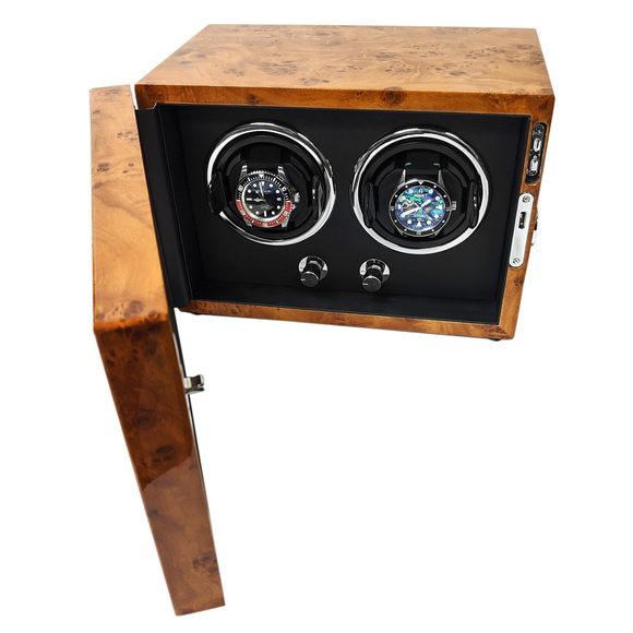 Arcanent 2 Slot Watch Winder  Honey Burlwood Quality Made w/ Ball Bearings