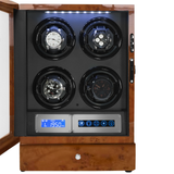 Arcanent 4 + 2 Slot Watch Winder LCD Digital Honey Burlwood Quality Made w/ Ball Bearings