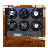 Arcanent 6 + 2 Slot Watch Winder LCD Digital Honey Burlwood Quality Made w/ Ball Bearings